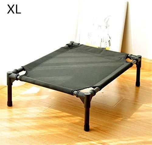 Draagbaar huisdierbed, voor binnen en buiten, eenvoudig te monteren hondenbed, afneembaar stalen frame, hangmat voor katten, kinderbed, campingbed, wasbaar, L 91 x 76 x 16 cm, XL 122x91x16cm