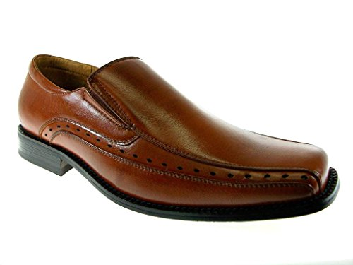 Delli Aldo Men's 16007-Brown Peephole Design Loafers, Brown, 7