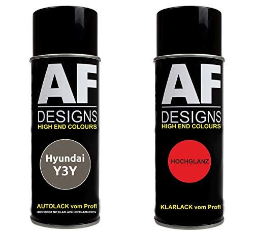 Autolack Spraydose Set für Hyundai Y3Y White Sand Metallic Basislack Klarlack Sprühdose 400ml