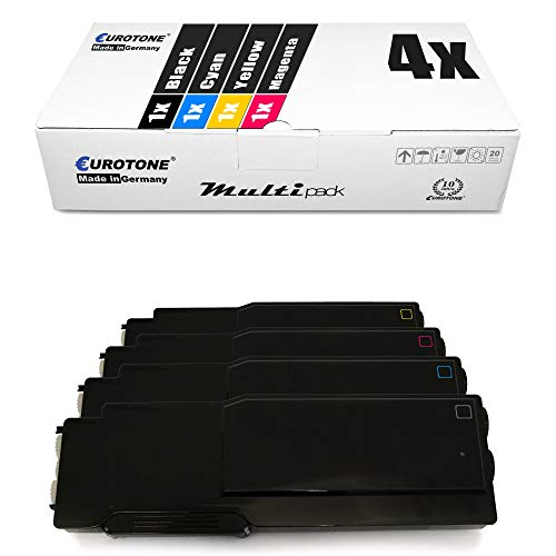 4x Eurotone XXL Toner Cartridge for Dell C 3760 3765 dn dnf n replaces Black Blue Red Yellow