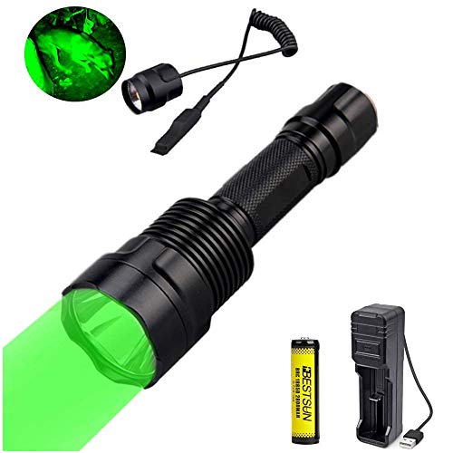 Grün Licht Taschenlampe, 1000 Lumen, 300 Yard, grüne LED-Jagdlampe, Singlemode-Taktik-Taschenlampe, wasserdichte Taschenlampe mit Druckschalter für die Nachtjagd, Angeln