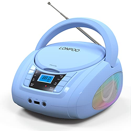 LONPOO Kids CD Player Portable Boombox with LED Light, Support Bluetooth/FM Radio/USB Input/AUX-in/Earphone Stereo Output (Blue)