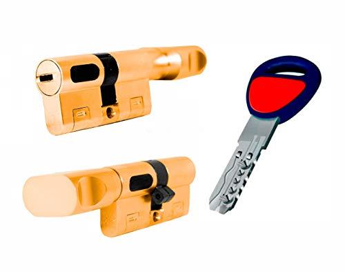 MAUER NW5 Bombin de Seguridad 31x31 color LATON con POMO Cilindro Bombillo Reforzado Antirotura Antibumping Antitaladro Leva Antiextracción Cerradura para Puerta 5 LLaves Tarjeta de Seguridad