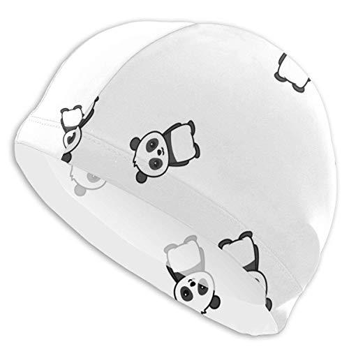 YYRR MKLQ Cute Panda Cartoon Bonnets de Bain pour Hommes et Femmes, Les Bonnets de Bain élastiques Peuvent Garder Les Cheveux Propres et Respirants, adaptés aux Cheveux Longs, aux Cheveux Courts et a