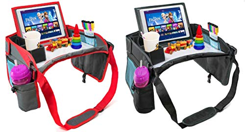 Kids Car Seat Travel Tray - Inspire Active Toddlers & Big Kids for Years w/Dry Erase Board & Eating Snack Tray, No-Drop Tablet iPad Holder Stand & Art Supplies Storage Pockets (1 Black + 1 Grey)
