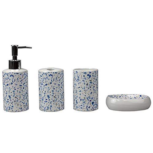 Home Basics, Blue Trendy Terrazzo 4 Piece Ceramic Bath Accessory Set