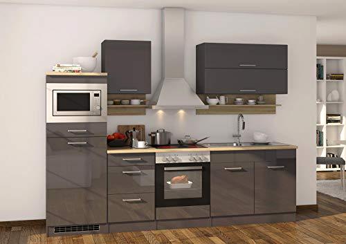 lifestyle4living Küche mit Elektrogeräten 270cm | Küchenzeile Küchenblock Einbauküche E-Geräte | Hochglanz Grau/Eiche Sonoma