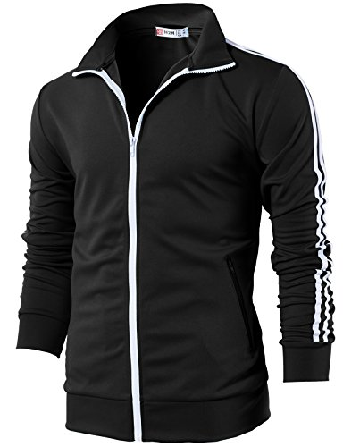 H2H Mens Slim Fit Zip-up Long Sleeves Track Jacket Black US M/Asia L (CMOJA0103)