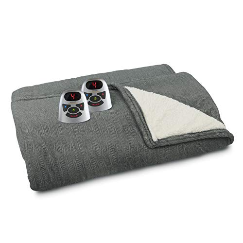 Biddeford Blankets Micro Plush Sherpa Electric Heated...
