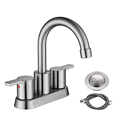 RKF Swivel Spout Two-handle Centerset bathroom faucet Lavatory faucet with pop-up drain with overflow and CUPC water supply lines,Matte Black,BF015-9-MB