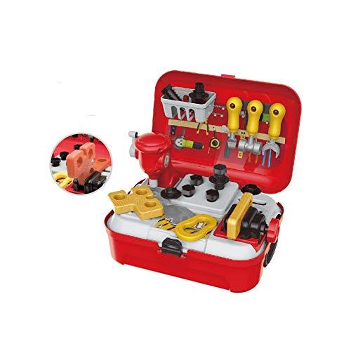 Nikgic. Werkzeugspielzeug für Kinder Mit roter Box Spielzeug-Werkzeugset Rollenspiel Techniker Werkzeugsatz Bohren SAH Hammer Spielzeug Geschenk zum Kinder Mädchen Jungen Geburtstag Kindertag