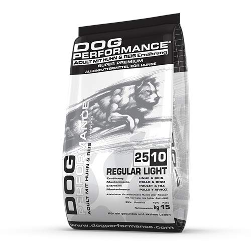 DOG Performance Crocchette per Cani Premium Adult 25 10 Regular Light, Mangime Leggero di Mantenimento per Cani - Sacco da 15 kg
