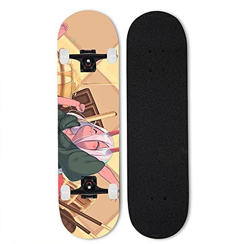 Totots Dibujos animados de arce Skateboard Darling en el franxx Anime Doble Tilt Skateboard Zero Dos 31 pulgadas Monopatín completo Hermosa chica con cabello rosa y ojos verdes Patinaje profesional de