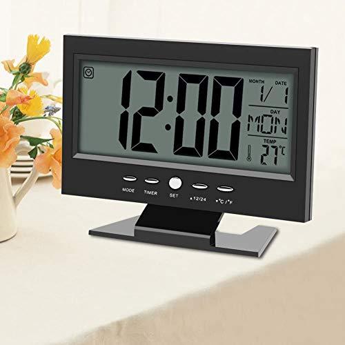 Yosoo Multifunktions Klangsteuerung Große LCD Digitaluhr Tisch Schreibtisch Wecker mit Zeit Kalender Woche Temperaturanzeige Snooze Uhren(Schwarz)