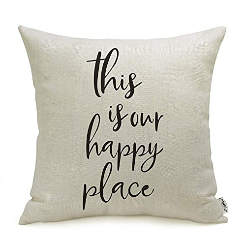 Meekio Farmhouse Pillow Covers with This is Our Happy Place Quotes 18' x 18' Farmhouse Decor Housewarming Gifts