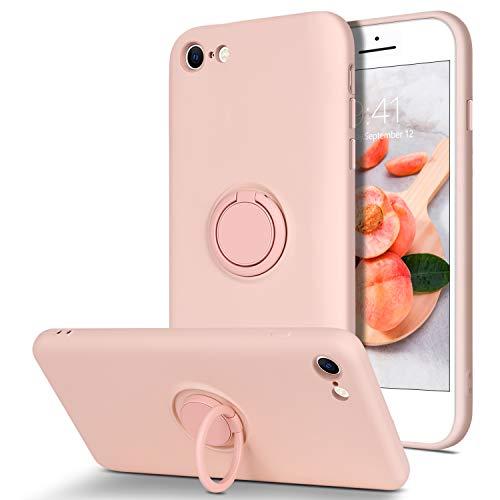 BENTOBEN iPhone SE 2020 Hülle Silikon Case Mit Ring Halter, iPhone 7/8 Handyhülle Slim Kratzfest weiche Flüssigsilikon Gummi mit innem Microfaser Tuch Futter iPhone SE 2/7/8 Rosa