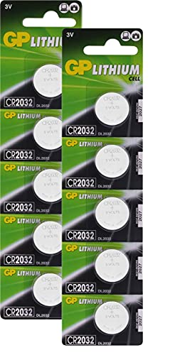 GP Lithium Knopfzellen CR2032 3V, Knopfbatterien CR 2032 / DL2032, Spannung 3 Volt (10 Stück Batterien CR2032 im 2X 5er Pack, Batterien einzeln entnehmbar)