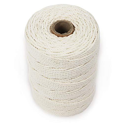 GRÜNTEK Baumwollschnur 3mm - 150 Meter, Bindegarn, Gartenschnur, Makramee, Kordel Rolle Naturfarbe, 100% Baumwolle