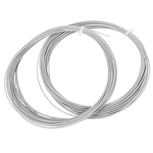Keenso Cuerda de Raqueta de bádminton, 2 Piezas 10m de Alta flexibilidad Línea de Cuerda de bádminton Raqueta de Entrenamiento Líneas de Raqueta Accesorio de reparación de bádminton(Blanco)