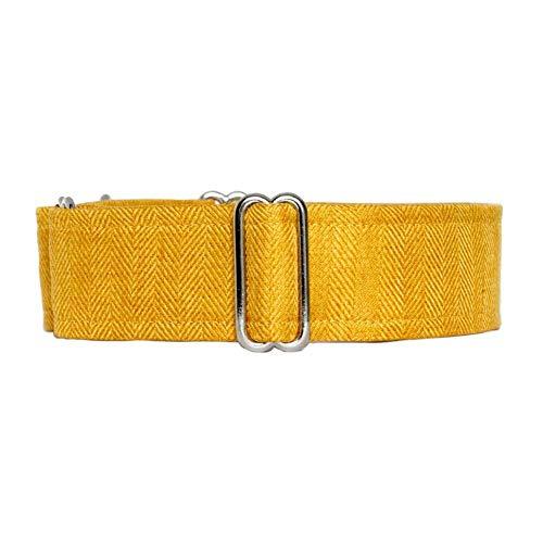 Noddy & Sweets Martingale-Halsband, Fischgrätenmuster, Senf, Größe L, 5 cm breit