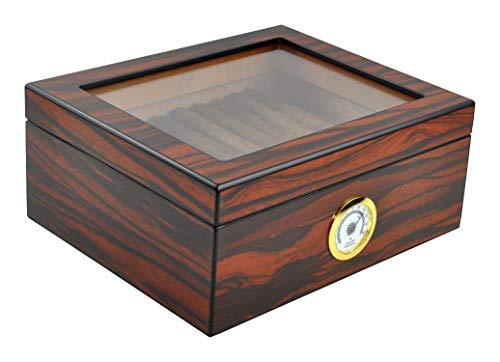 Eitida Desktop Humidor Case Holds 25-50 Cigar, Tempered Glass Top Display,...