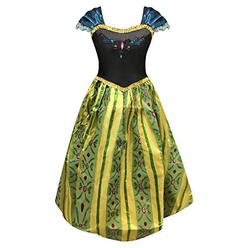 Live It Style It Disfraz de princesa para niña, traje de fiesta, modelo Elsa (también modelos Anna) Anna Vert 9-10 años