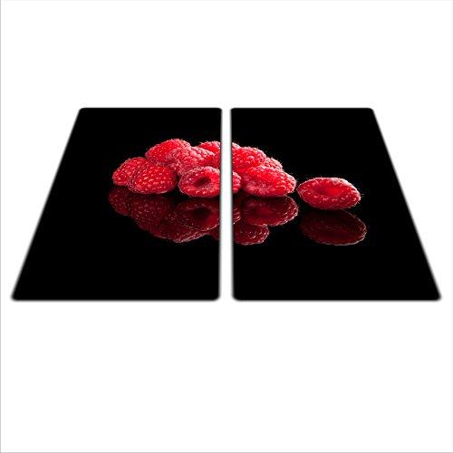 Protection en verre pour plaques de cuisson vitrocéramiques/à induction 2 x 29 x 52 cm Motif framboises