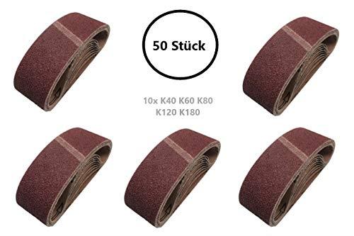 HKB ® 50 Stück Schleifbänder 75x533 mm Körnung 40, 60, 80, 120 und 180 für Bandschleifmaschinen, feiner riefenfreier Schliff hochwertige Profi-Qualität, 15300