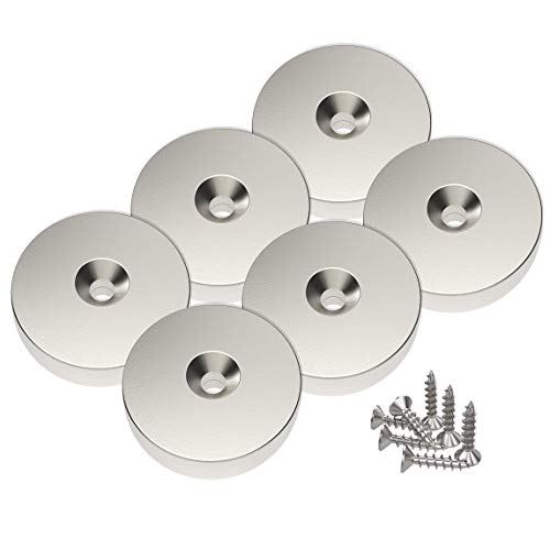 Magnetpro 6 piezas Imanes de disco de neodimio tracción de 10 kg avellanados de 25 x 5 mm, agujero de cabeza avellanada con 6 tornillos
