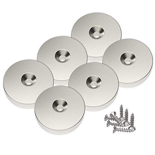 Magnetpro 6 Pezzi Magneti Al Neodimio A Disco 25 X 5 Mm, Foro Per Testa Svasata, Trazione 10 Kg Con 6 Viti