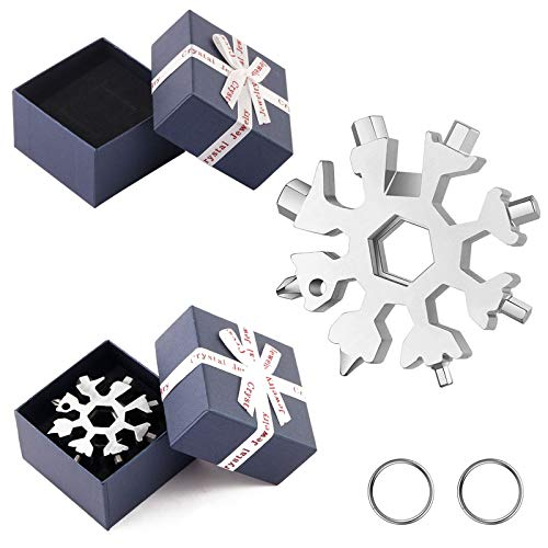 2 Pieces Snowflake Multi Tool 18 in 1 Universal Snowflake Tool Stainless Steel Snowflake Handy Tool Snowflake Wrench Tool Gadgets with Gift Box Key Ring Snowflake Tool Gift for Men Silver