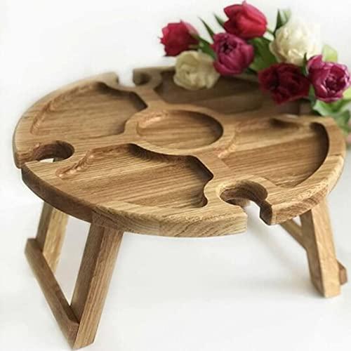 Asalinao hölzerner klappbarer Picknicktisch aus Holz mit Glashalter, tragbarer Picknick-Weintisch aus massivem Holz aus Holz mit versenkbaren Beinen