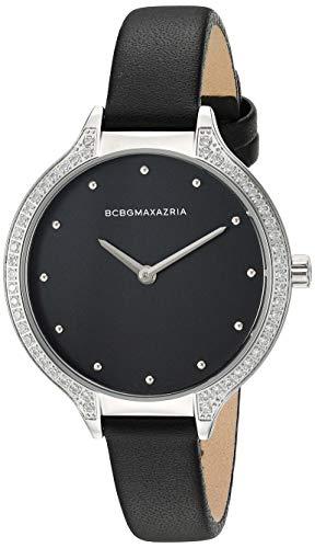 BCBGMAXAZRIA Women's Stainless Steel Japanese-Quartz Watch with Leather Strap, Black, 10.8 (Model: BG50678001)