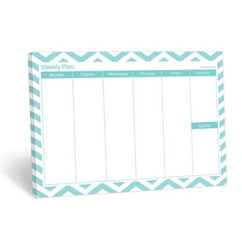 """321Done Weekly Planning Notepad Landscape - 50 Sheets (8.5"""" x 5.5"""") - Horizontal Weekly Days of Week Paper Note Pad, Planner Organizing - Made in USA - Chevron Teal"""