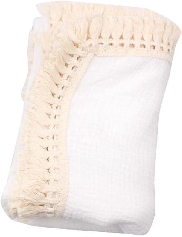 Newborn Cotton Tassel Wraps Baby Muslin half Infant Stroller Swaddle Special price