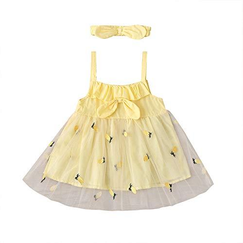 Vestido de Niña Tirantes Verano con Lazo Tul Estampado de Piña Sin Mangas Vestidos Princesa para Niñas Ropa Bebe Recien Nacido Niña 6 Meses a 3 Años (Amarillo, 2-3 años)