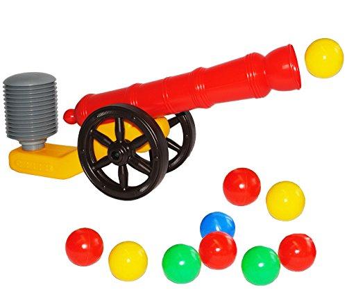 alles-meine.de GmbH Ballkanone / Kanone - incl. 10 Bälle - 48 cm - wasserfest - für INNEN & AUßEN - z.B. für Bällepool / Bällebad / Ball - Bad - Spielzeugbälle - Kinderbälle / Ba..