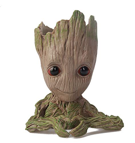 YQF Cute Baby Groot Planter Flower pot Tree Man Flower Pot with Drainage Hole Pencil Pen Holder for Outdoor Movies Tree Man Figure (DESIGN 1)