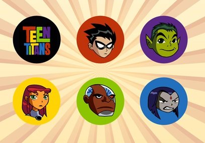 Teen Titans Go Set of 6 - 1 Inch Pinback Buttons