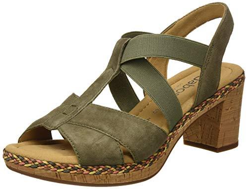 Gabor Shoes Comfort Sport, Sandalia con Pulsera Mujer, Verde (Oliv (Kork/Flecht) 34), 39 EU
