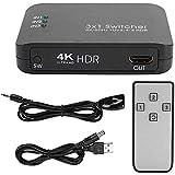 Yuyanshop Conmutador HDMI 3 en 1 Salida 4K HDMI 2.0 Conmutador HD IR Control remoto Splitter Adapter(negro)