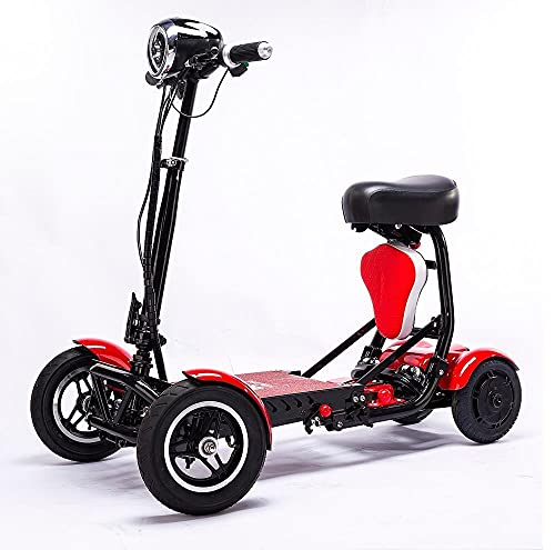 LFDZSW 4 Rueda Plegar Movilidad Scooter Nuevo Mini Adulto Portátil Plegable Scooter eléctrico Mejora Transformador de Viaje (Color : Red, Size : 15.6A) ⭐