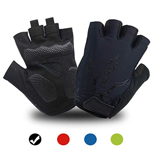 DHSO Cycling Gloves for Men Women,Half Finger Biking Gloves Motorcycle Gloves Gel Pad Shock-Absorbing Anti-Slip Breathable Mountain Bike Gloves (Black, Large)