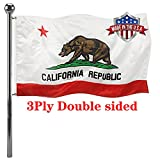 Jayus Double Sided California Republic Sates Flags 3x5 Outdoor- Vivid Colors 3Ply Cali CA Bear Flags Banners- Heavy Duty 100% Polyester with 2 Brass Grommets
