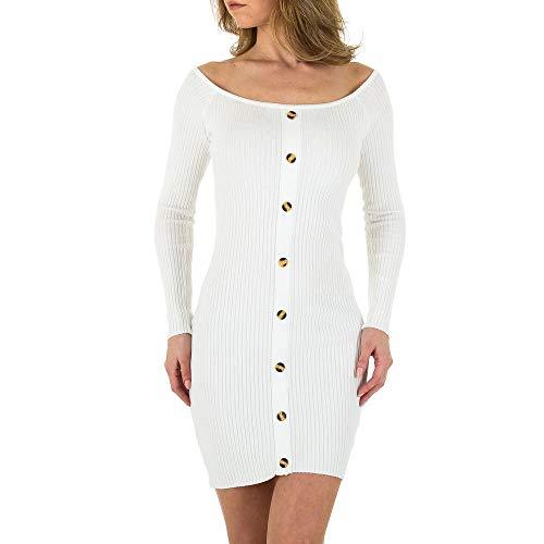 Ital-Design Geripptes Wollmix Strick Kleid Für Damen, Weiß