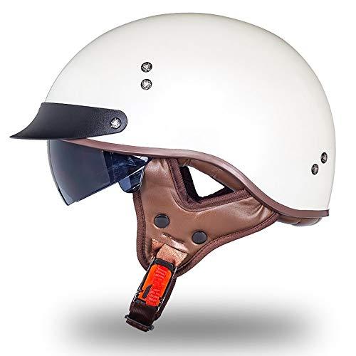 MTTKTTBD Brain-Cap · Halbschale Motorrad-Helm Halbhelme Jet-Helm Roller-Helm Scooter-Helm Mofa-Helm Retro Harley Motorrad Half Helm mit Built-in Visier für Cruiser Chopper Biker