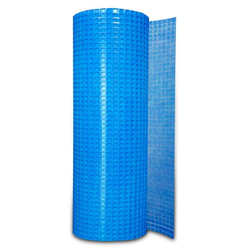 Uncoupling Membrane 1/8 inch Thick (3.3 ft x 98.5 ft) - Tile Underlayment Mat - Waterproofing, Anti-Fracture, Crack Isolation Membrane (323 sq ft) - Blue