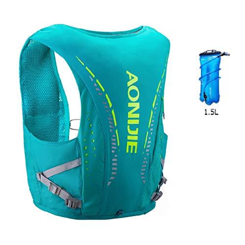 Mochila de hidratación Aonijie ligera y transpirable de 12 l al aire libre Trail Marathoner Running Cycling Race Hydration Chaleco con vejiga de agua (verde+1,5 L, M/L)