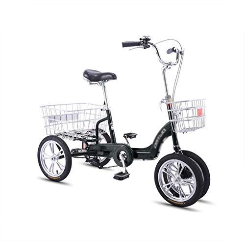 Bicicleta de Tres Ruedas para Adultos de Mediana Edad y de Tres Ruedas con Canasta Trasera ampliada, Scooter pequeño, Pedal único, Mano de Obra de 14 Pulgadas, Estable y no es fácil de Voltear