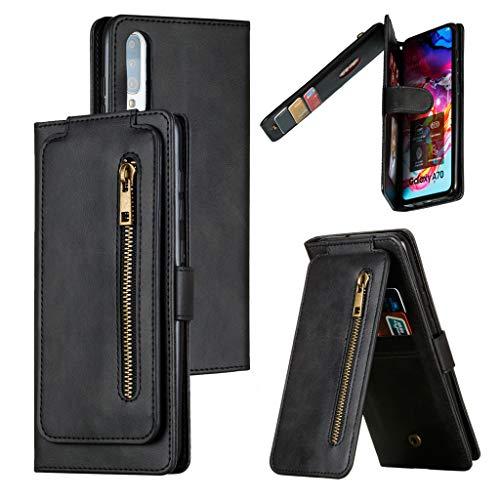 Capa para Samsung Galaxy A70, capa carteira flip de couro [9 compartimentos para cartão] [1 bolso para dinheiro] [alça de pulso] Capa protetora com suporte para Samsung Galaxy A70 - Preta